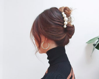 Luxurious Black & Beige Hair Claw with pearls, Elegant and Stylish Hair Clip