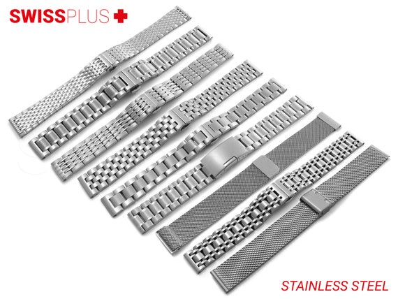 For BREITLING Watch Stainless Steel Metal Watch SILVER Strap Band Bracelet Clasp Buckle 12mm 14mm 16mm 18mm 19mm 20mm 21mm 22mm 24mm Pins