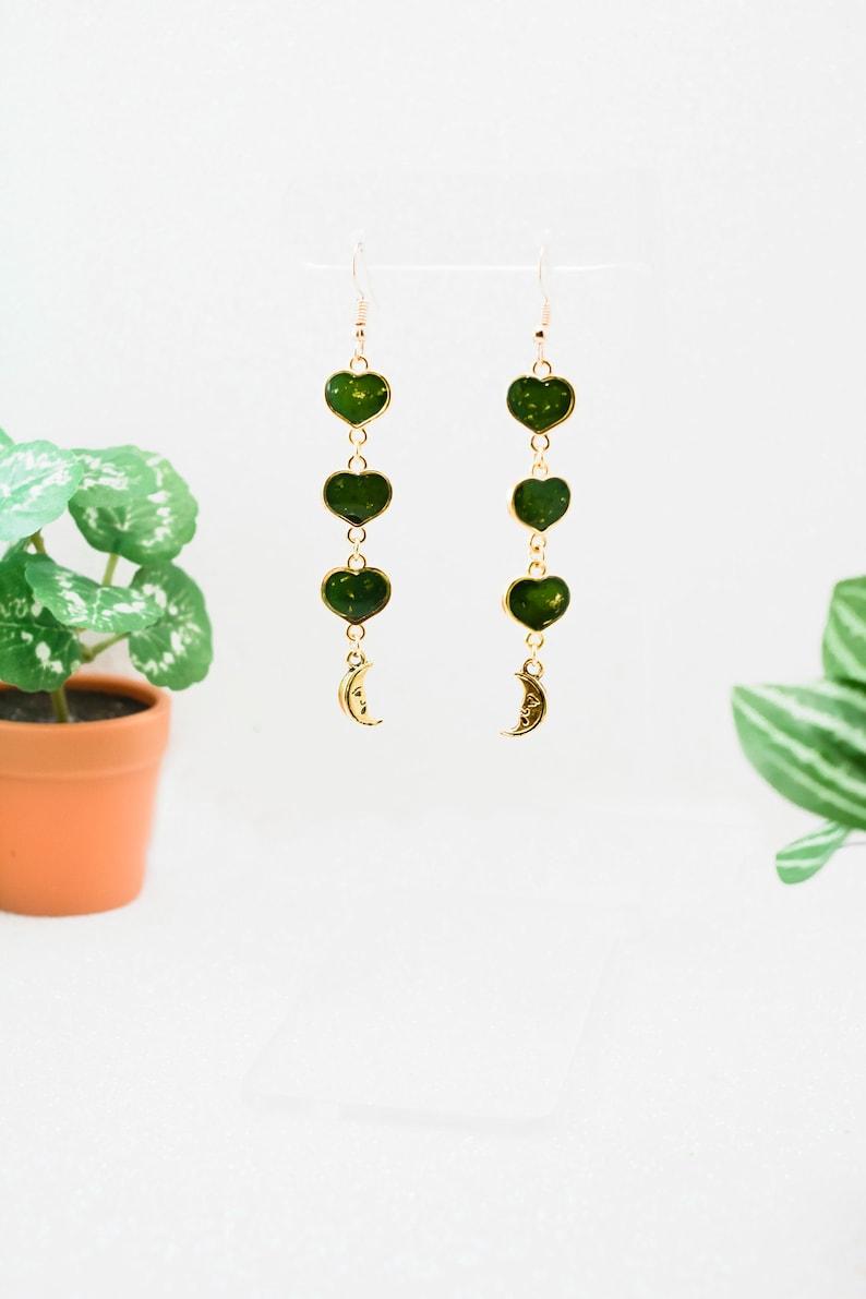 Green gold moon charm small heart layered chain detailed earring Handmade long dangle moon earrings Cottagecore minimalist aesthetic
