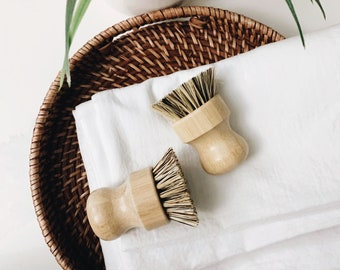 Bamboo Sisal & Palm Dish Brush   Bamboo Pot scrubber   Zero Waste Eco-Friendly Dish Brush 1 Pack