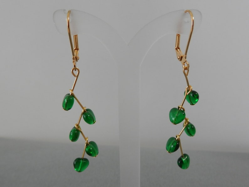drop earrings gold plated lever back and components Emerald green Czech glass hearts