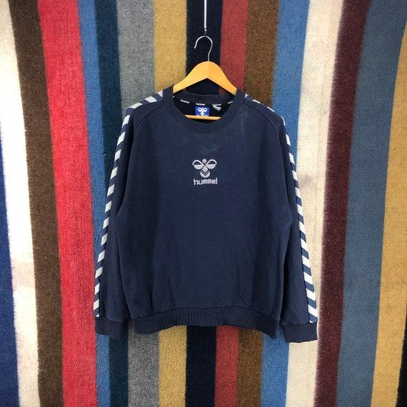 Hummel Big Logo Embroidery Spellout Varsity Jackets Button Pullover Sweatshirt Sweater Vintage Style Fashion Designer  Size Medium Rare