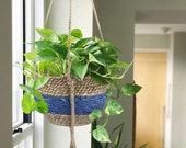 Seagrass Hanging Planter Basket - Indoor Outdoor Plant Pots, Flower Pot Cover