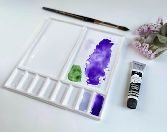 Ceramic watercolor palette large mixing space