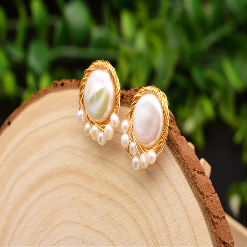 earring jewelry handmade earrings Pearl jewelry Baroque Button Pearl Earrings 925 silver earrings Natural pearl earrings