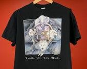 Vintage 90s Earth Air Fire Water Dream Catcher Black T-Shirt Native American Magic Single Stitch Anvil Size XL Cotton Tee