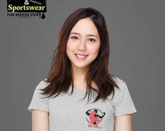 Women's Shirts - Women's Organic Melange Shirt - Fitness Shirt Organic Cotton - Fitness Yoga Shirt