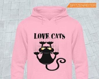 Women's Hoodie - Hoodie - Hoodie with Love Cats Fun - Cat Motifs Fun Autumn Winter Collection, Autumn Women Sweater