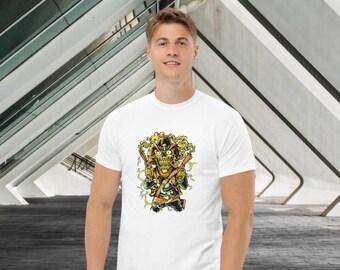 Men's Shirt - Fun T-Shirt - 100% Cotton - Two-Sided Print, Thick Fabric, Men's T-Shirt White