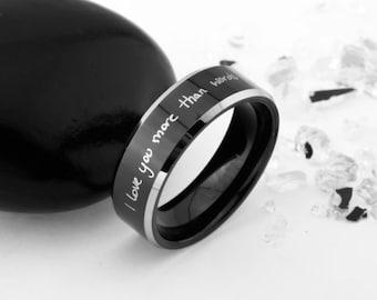 Men Women Personalized Handwriting Ring, Handwriting Ring, Engagement Rings, Personalized Gift, Eternity Ring, Signature Ring,