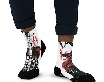 Men's Ankle Socks with Print - Fun Socks - Crasy Socks