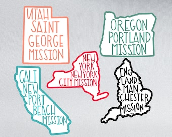 Custom LDS Mission Stickers | Custom color | Missionary Gift Ideas | Waterproof Stickers | Any State or Country  | Elder | Sister | Package