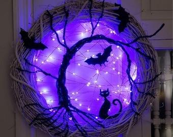 15in LED Halloween Wreath for Front Door, Spooky Black Glitter Bat Halloween Lights, Witch Wreath, Artificial Wreath Hanger |HDC198