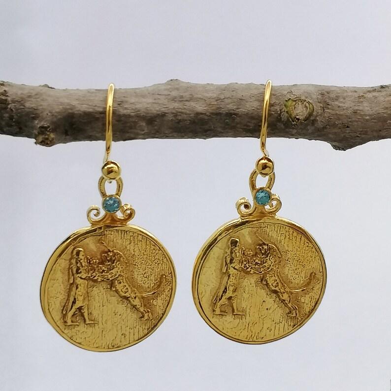 Handcrafted By AvaFineJewels Ancient Roman Earrings W Aquamarine Roman Coin Earrings Dangle Handmade Drop Earrings Hook Earrings