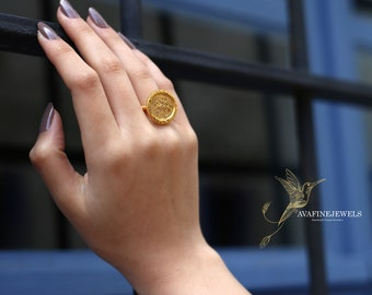 Roman Legions Coin Ring Sterling Silver, Signet Ring Women, Gift for Mom, Handmade Jewelry, Silver Gold Coin Ring By AvafineJewels