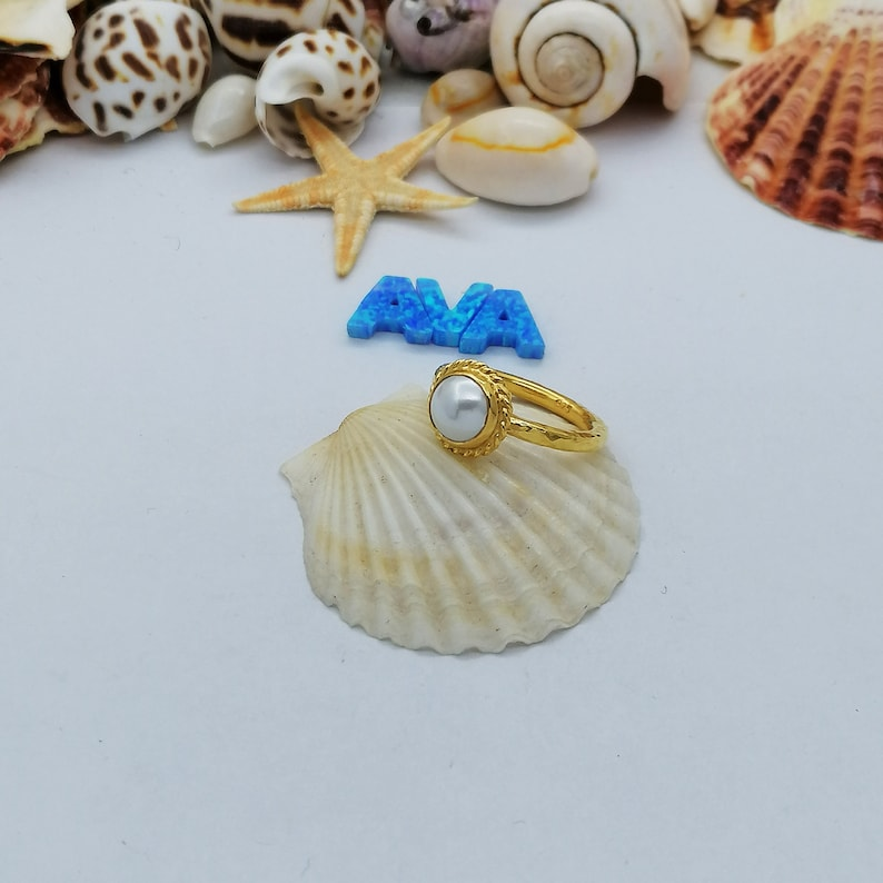 Handmade 925k Sterling Silver Cabochon Pearl Stack Ring 24k Gold Plated Gift for Her Ancient Roman Art By AvaFineJewels