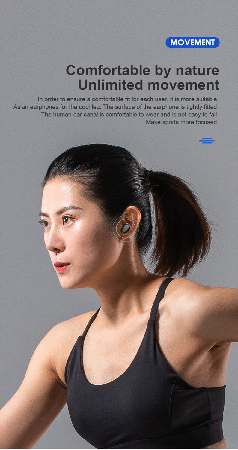 playing music with powerful battery life Bluetooth v5.0 wireless headphone with noise cancellation and waterproof