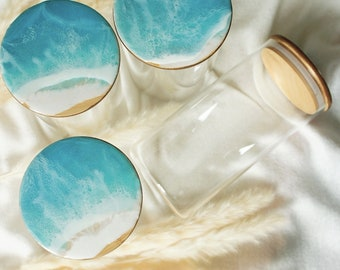 Storage jar with bamboo lid / turquoise / sea / epoxy resin / resin