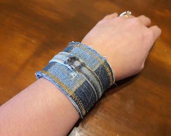 denim bracelet with tassels lace tassels bracelet Denim Cuff Bracelet Blue Jeans Denim guipure tassels bracelet Textile Bracelet