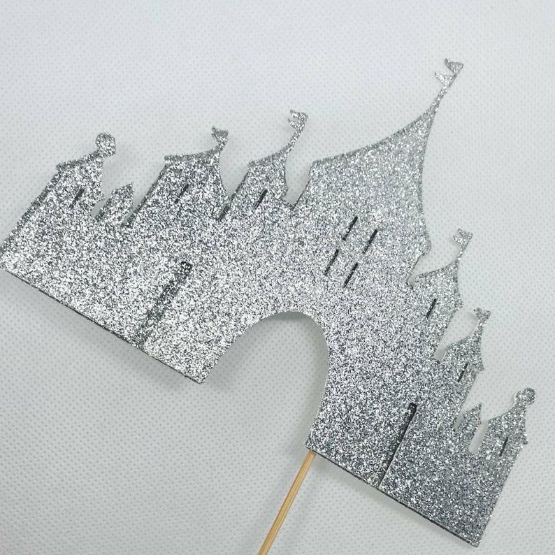 Princess cake topper fairytale cake topper Sparkly Castle cake topper