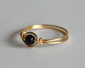 Anxiety Fidget Spinner Ring • Gold and Black Bead