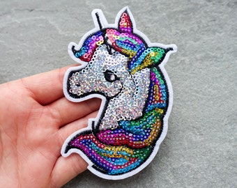 Unicorn Patch, Rainbow Sequin Embroidered Patch, Cloth Applique, Iron On or Sew On, Clothes Badge, UK Shop