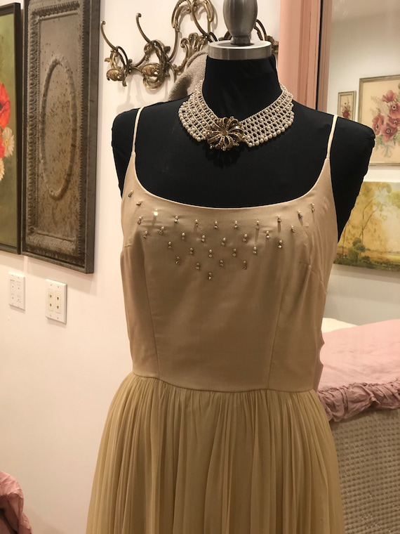 Vintage 1950s Silk Chiffon Dress