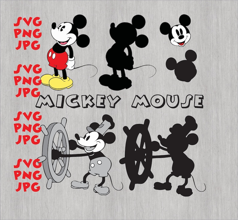 Bundle Pack Steamboat Willie SVG PNG JPG Classic Mickey Mickey Mouse