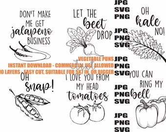 Vegetable Puns: SVG PNG JPG instant download Six Design Bundle