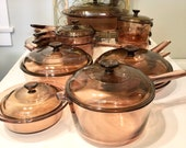 VISION Amber Corning Ware Pyrex LOT of Casseroles Double Boilers Pots Pans Skillets MULTIPLE Available and Free Shipping