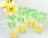 Vintage 1960 39 s Federal Glass Co SET of 5 Floral and Butterfly Drinking Glasses Designed by N. Stalcup 1960 39 s Drinkware