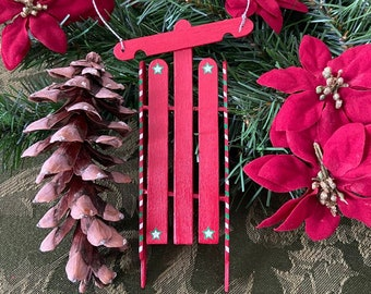Vintage Personalized Popsicle Stick Sled Ornaments, Christmas Ornaments, Holiday, Custom Personalized Ornaments, Family Ornaments