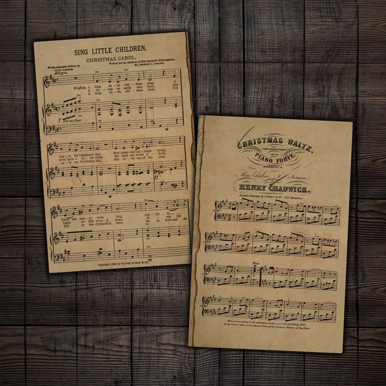 Scrapbooks Mixed Media Paper Crafts Printable Vintage Christmas Sheet Music for Junk Journals