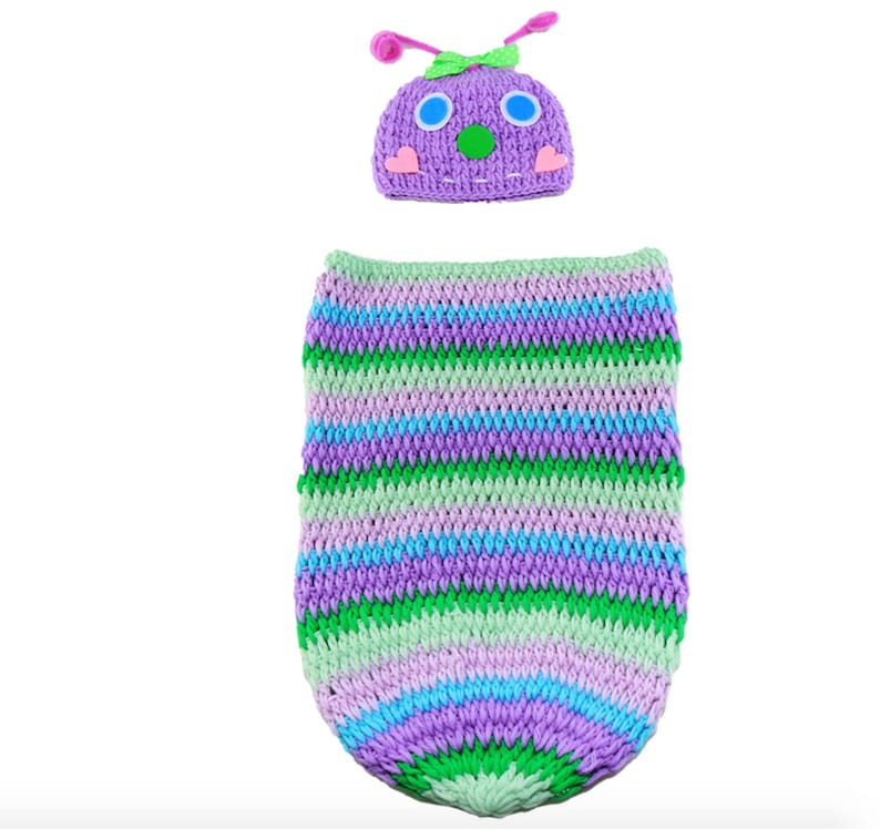Baby Infant Newborn Handmade Crochet Beanie Hat Clothes Caterpillar Outfit Baby Photograph Props