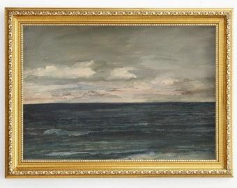 Ocean vintage print Antique oil painting Minimalist coastal art Abstract seascape oil painting Printable wall art Muted beach decor