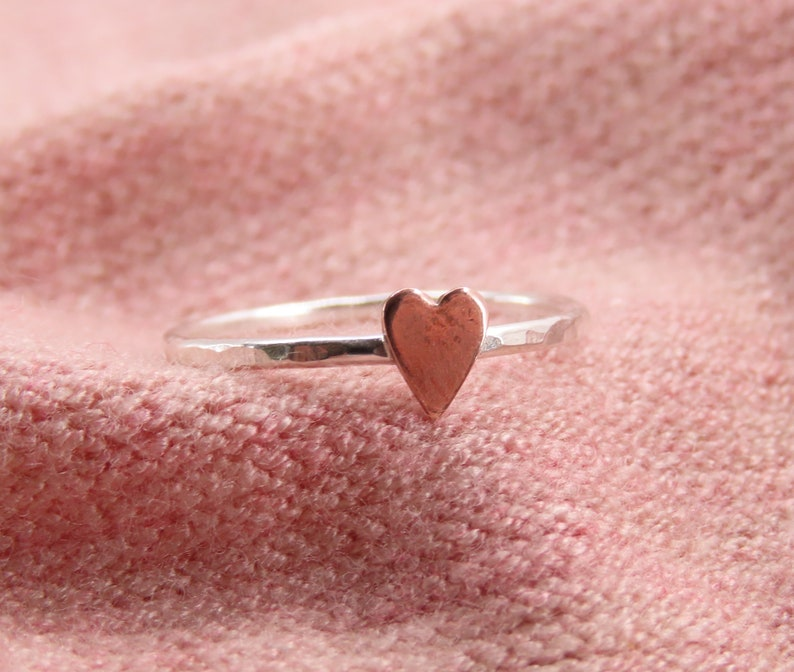 Stacking Ring Heart Ring Dainty Heart Ring Heart Ring for Women Sterling Silver and Copper Ring Heart Ring Silver