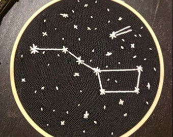 Hand Embroidery Constellation Project Kit (Glow in the dark!)