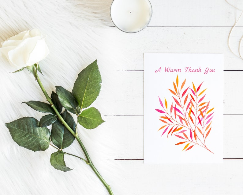 Purple Orange Red Leaves Printable Thank You Card Digital Download Watercolor 5x7 Card Instant Download