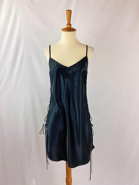 Vintage Onyx Lace Up Slip Dress