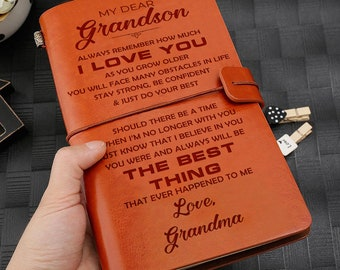 Finyosee Leather Grandson Journal from Grandma,Embossed Vintage Refillable Writing Journal- -Paper 7.9x4.7 Gift for Christmas,Birthdays,Graduation,Party-Grandson Laugh - Love - Live