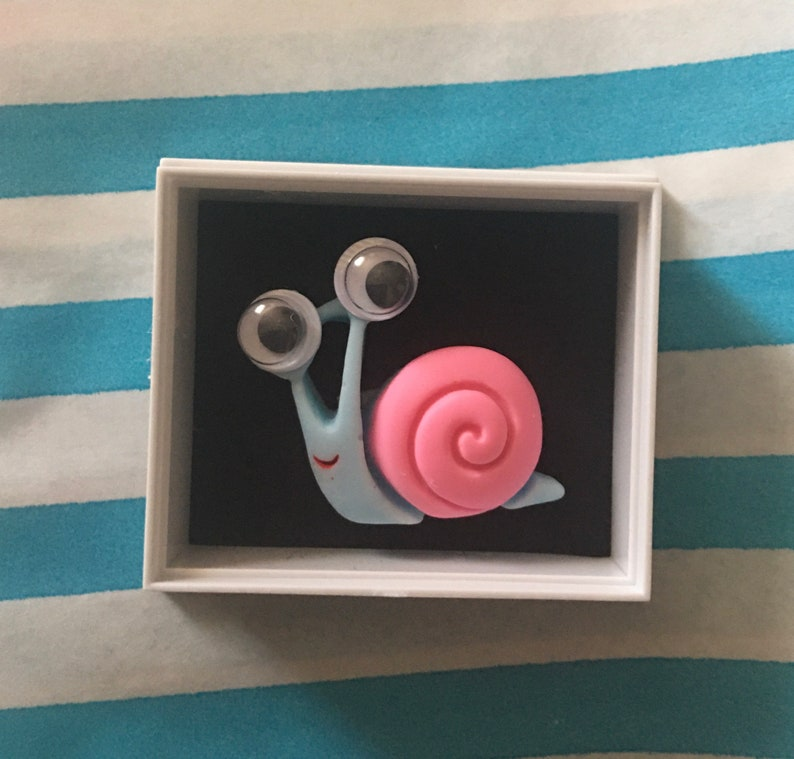 cute gift The wee snail in a box pocket hug kawaii keepsakes Shelf ornament unique little gift