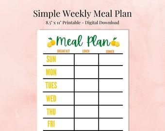 Weekly Meal Plan - Simple Meal Planning Template