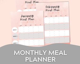 Monthly Meal Plan Printable, 12 Month Meal Plan Printable