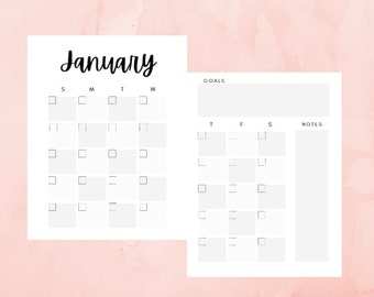 Undated Printable Calendar, 2 Page Monthly 12 Month Planner