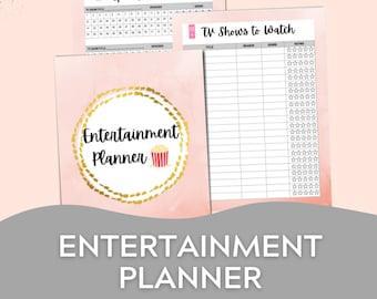 Entertainment Planner, TV Show Tracker, Books to Read Tracker, Printable Planner