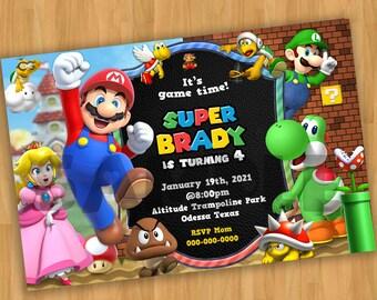 Super Mario Bros Digital Birthday Invitation, Card Printable Invite Mario