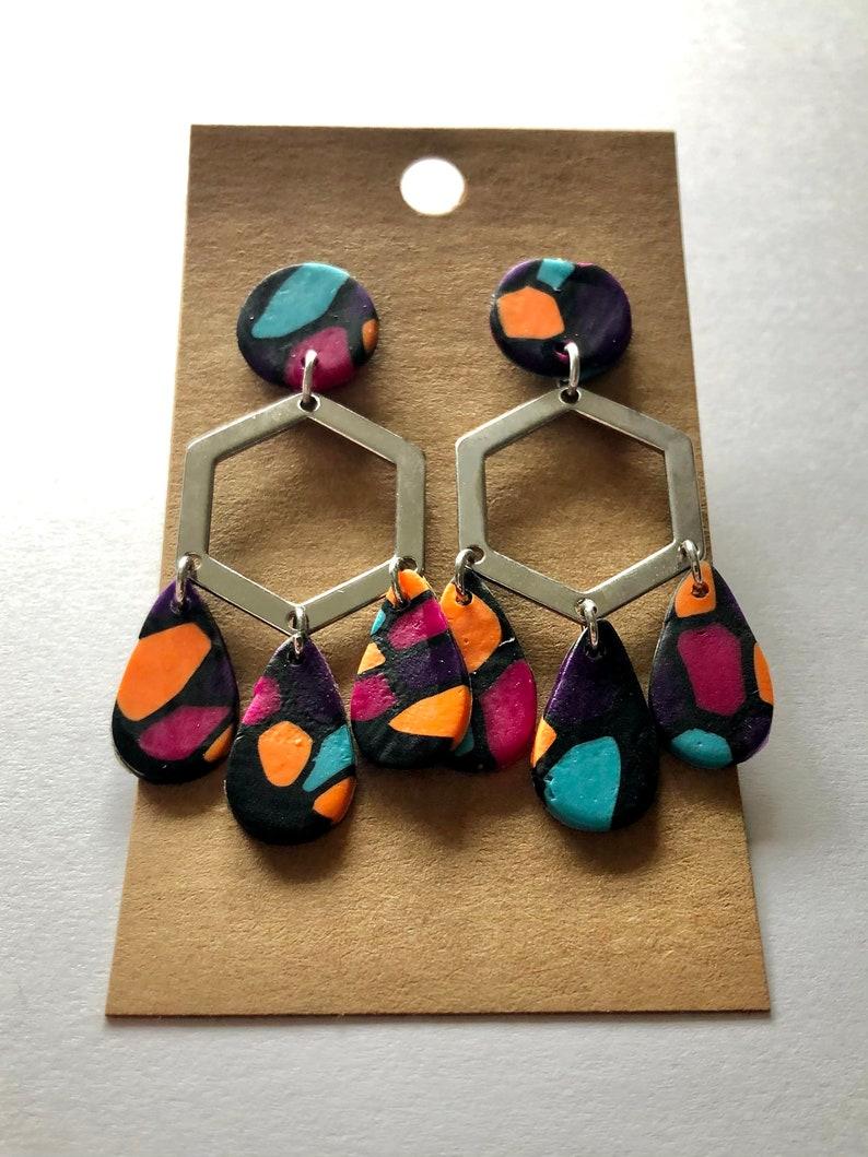 Fast Shipping Statement Earrings Fun Earrings Handmade Earrings Hexagon Teardrop Polymer Clay Earrings Lightweight Gifts for Her