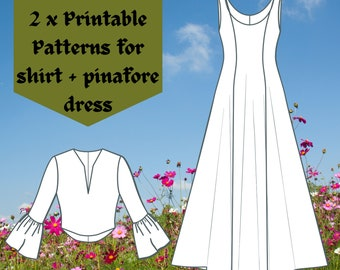 PRINTABLE PATTERNS Medieval Set #1: Belle Sleeve Shirt & Pinafore Dress Patterns   Instant download medieval/viking/renaissance dresses