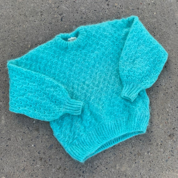 Vintage 80's Turquoise Mohair Pullover Knit Sweate