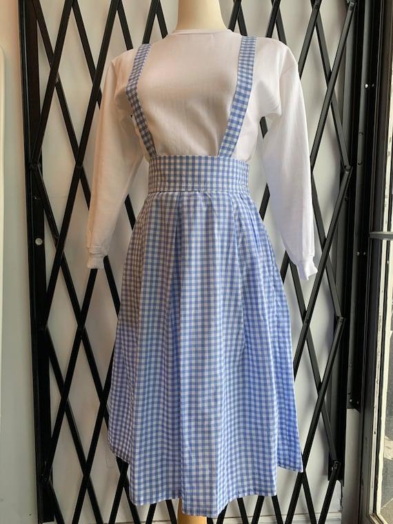 Vintage Homemade Blue Gingham Pinafore Suspender D